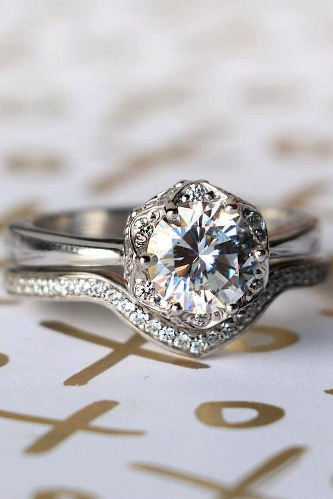 round engagement rings vintage white gold halo diamond