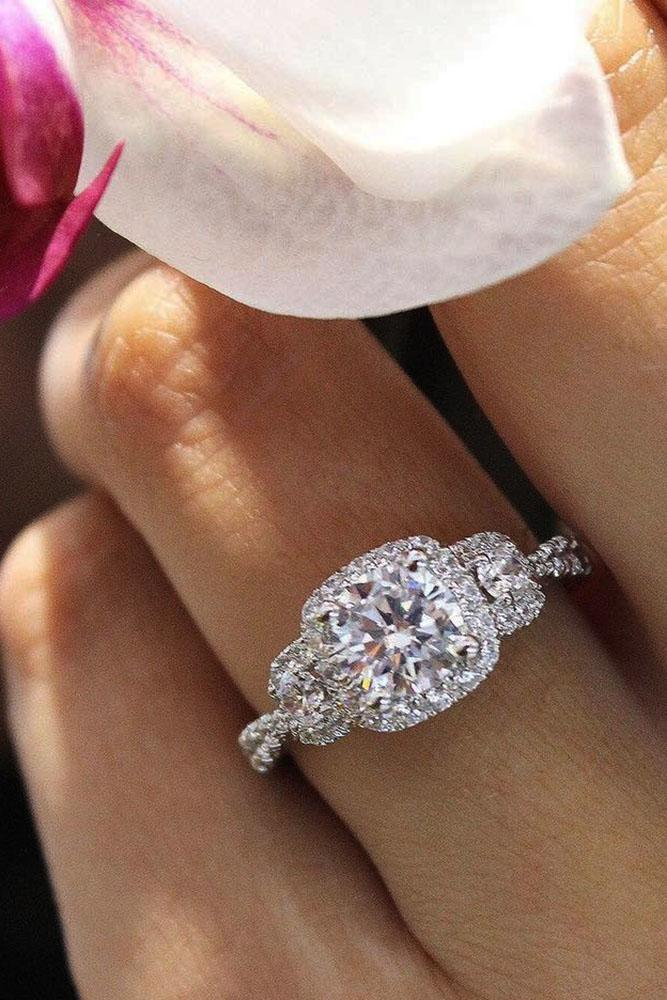three stones engagement rings halo round cut diamonds in white gold pave band