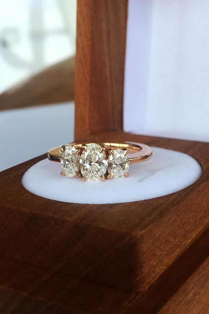 three stones engagement rings rose gold oval cut diamonds classic ring