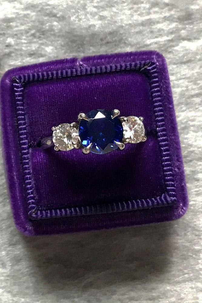 three stones engagement rings round cut center sapphire diamonds white gold