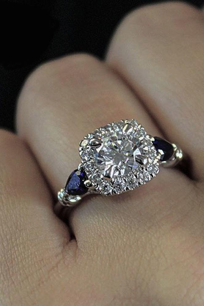 three stones engagement rings round cut halo diamond sapphires white gold