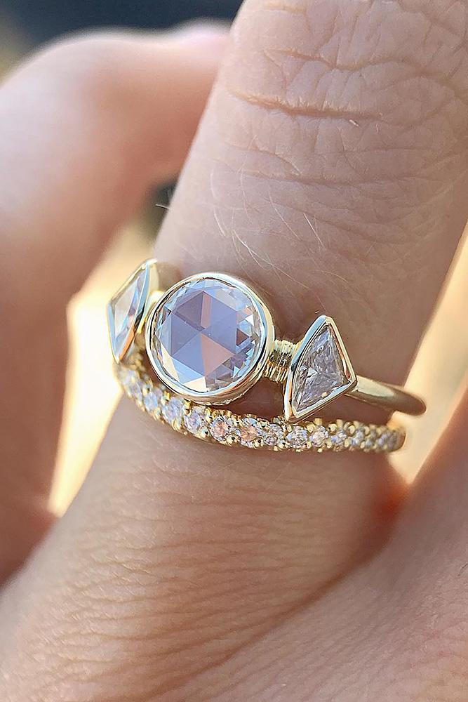 three stones engagement rings unique rose