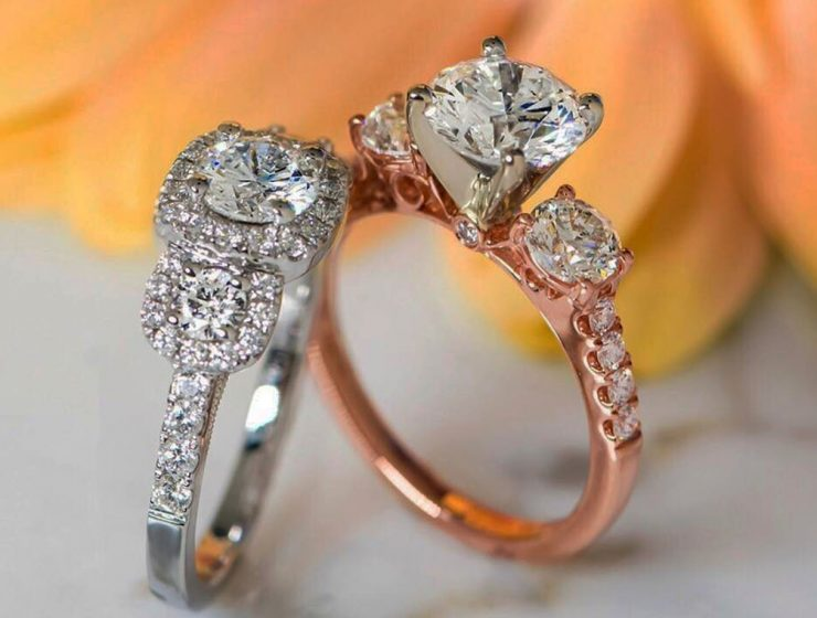 three stones engagement rings white and rose gold diamonds
