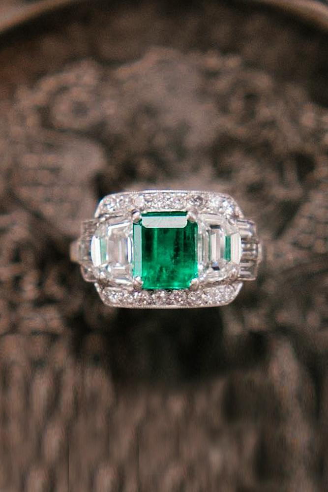 three stones engagement rings white gold emerald cut vintage