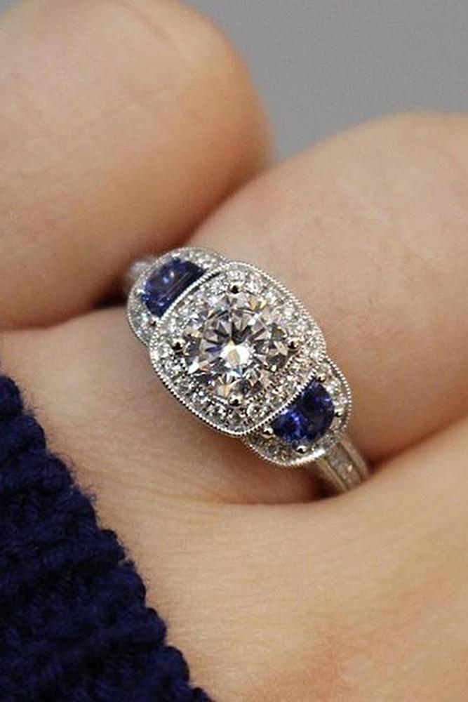 three stones engagement rings white gold halo sapphire diamond