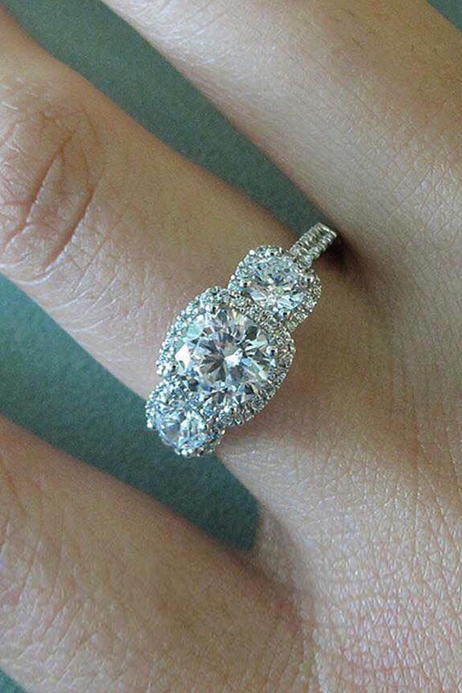 three stones engagement rings white gold pave band halo diamond