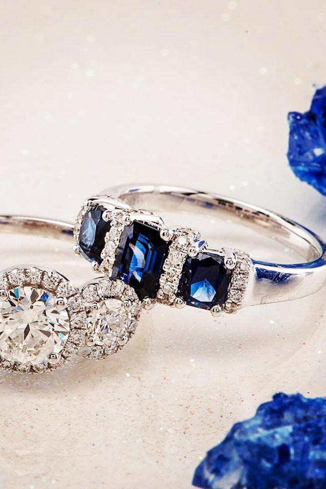 three stones engagement rings white gold sapphires diamonds