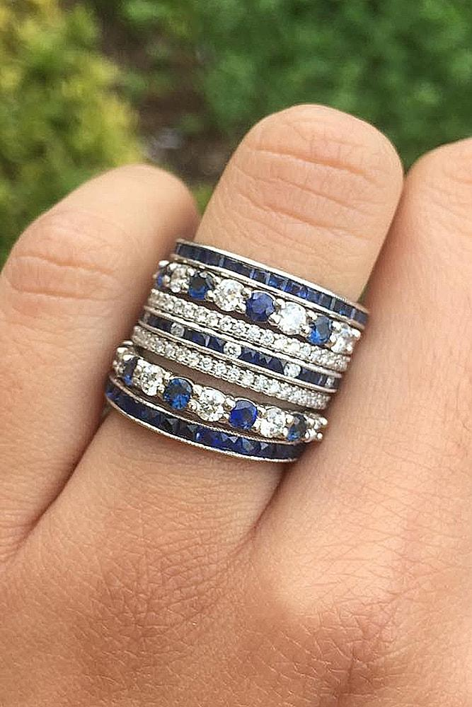 unique wedding rings band sapphire white gold