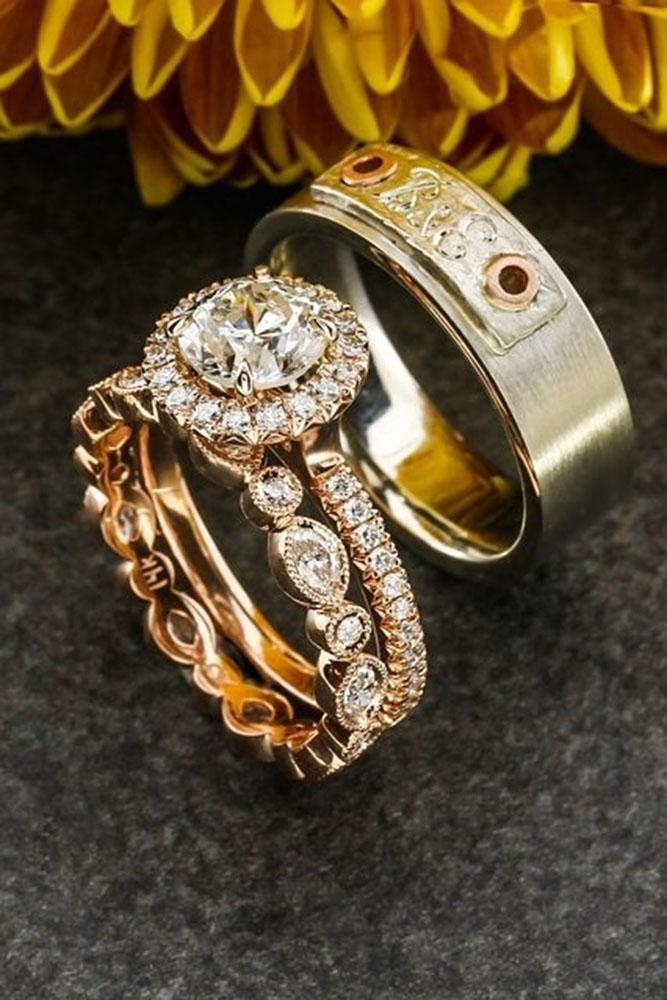 unique wedding rings rose gold round halo pave band