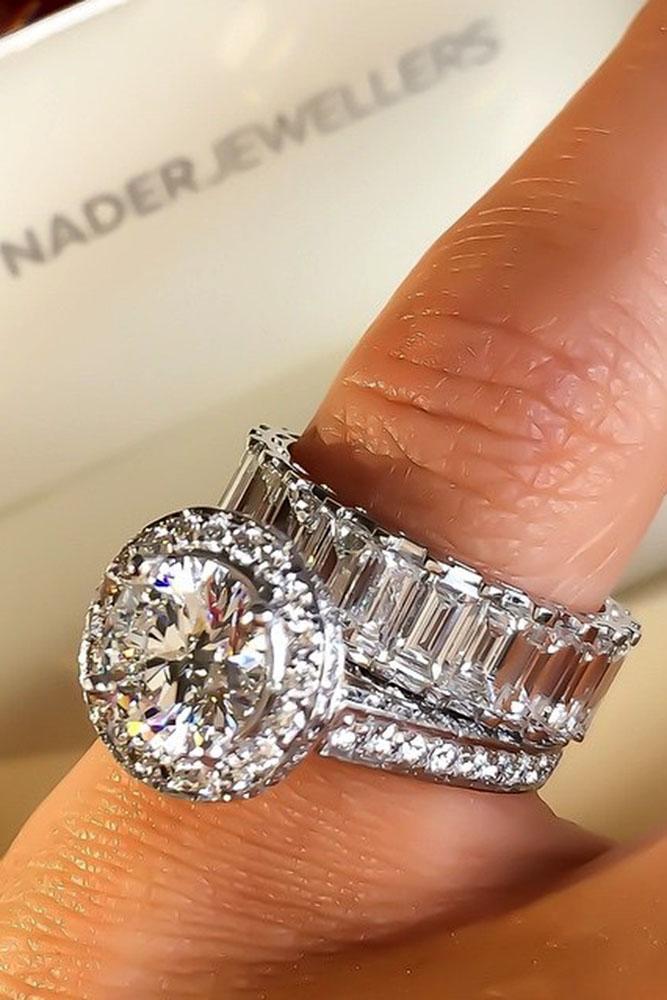 unique wedding rings round halo diamond