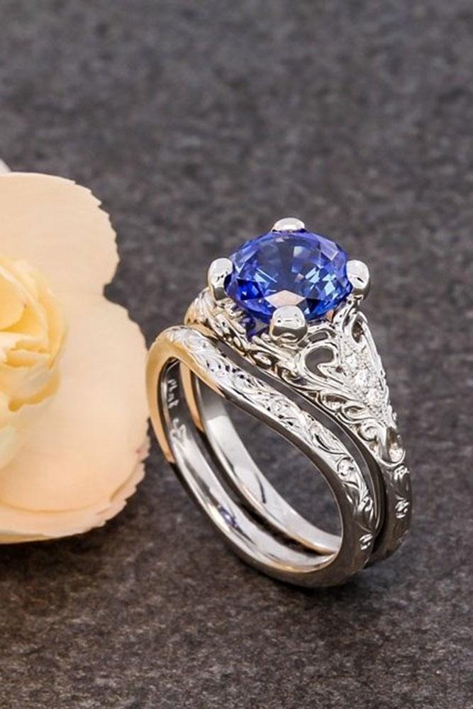 unique wedding rings sapphire vintage