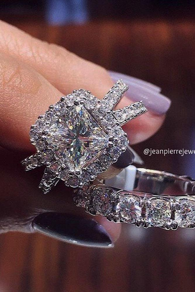 unique wedding rings split pave band princess cut diamond halo