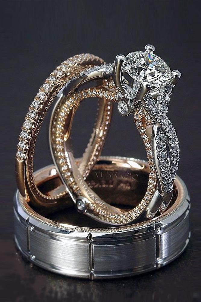 unique wedding rings white rose gold round cut center diamond twist band