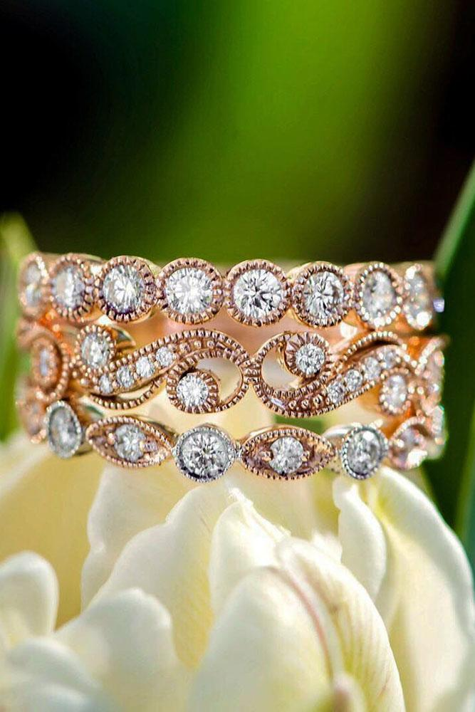 vintage wedding band rose gold bands with diamond