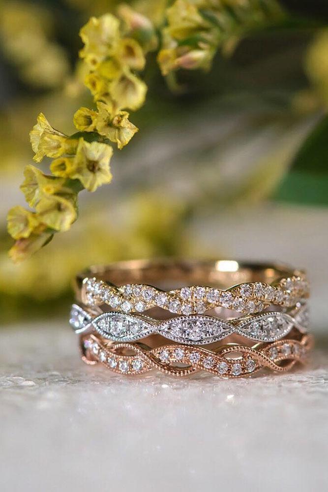 vintage wedding band twisted white rose yellow gold diamond rings