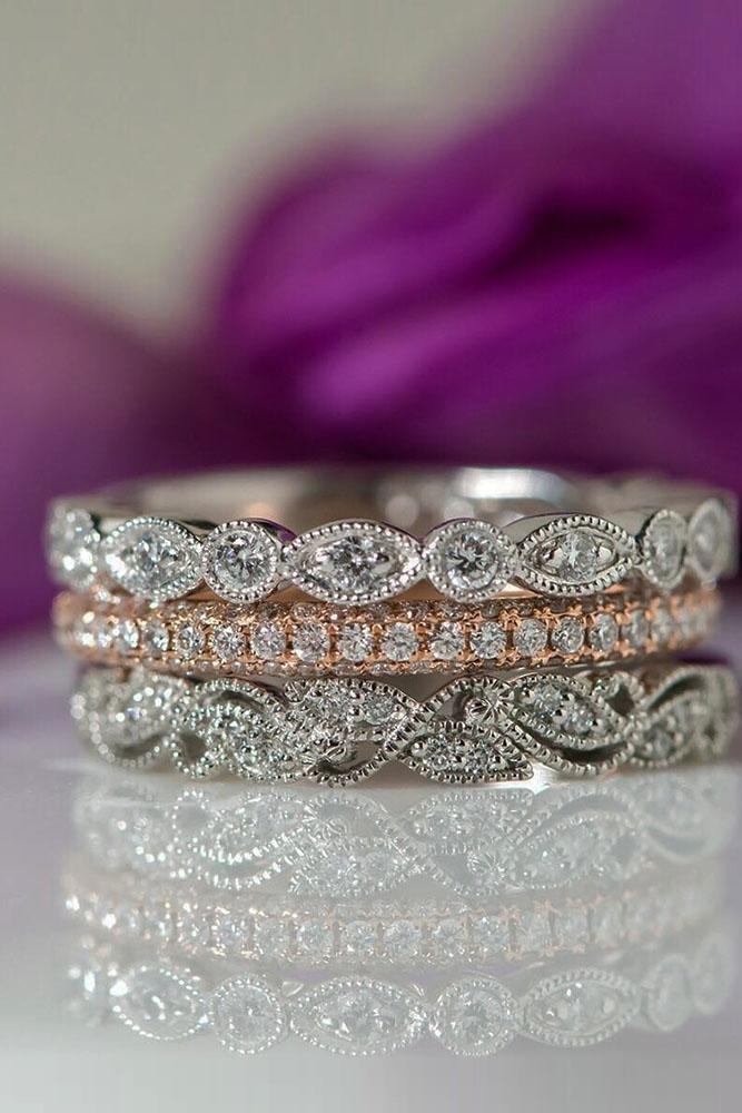 vintage wedding band white and rose gold stunning bands