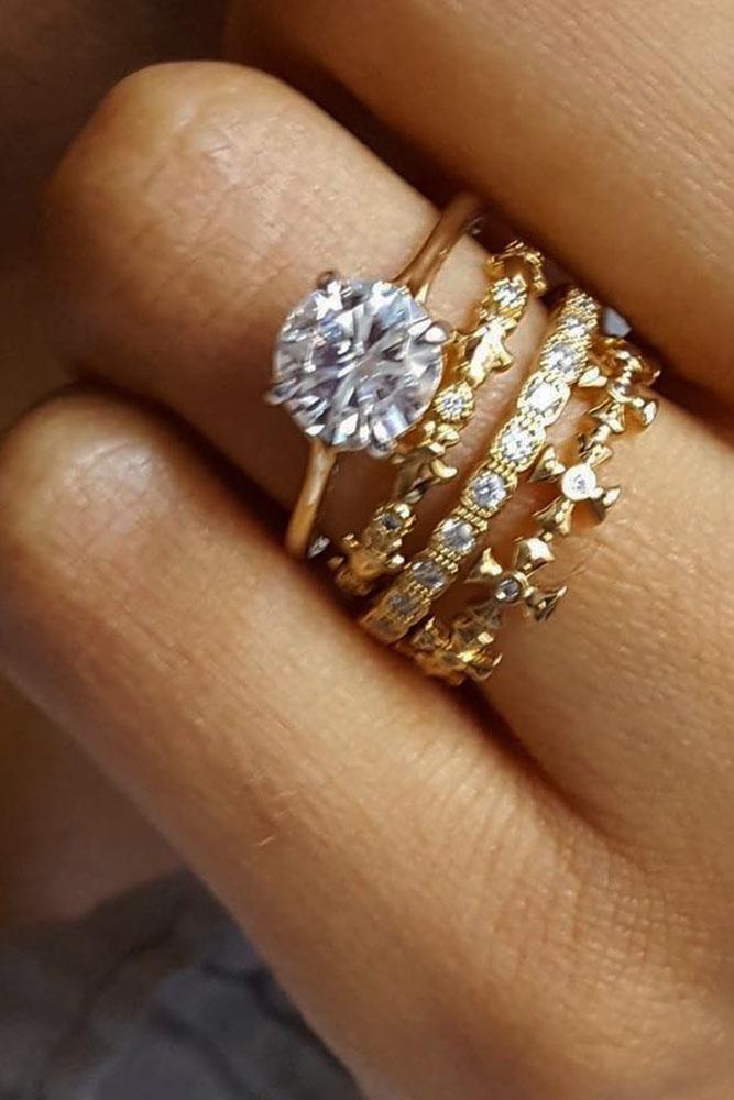 Vintage Wedding Band Yellow Gold Bands With Diamonds