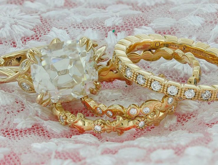 vintage wedding band yellow gold diamonds eternity bands