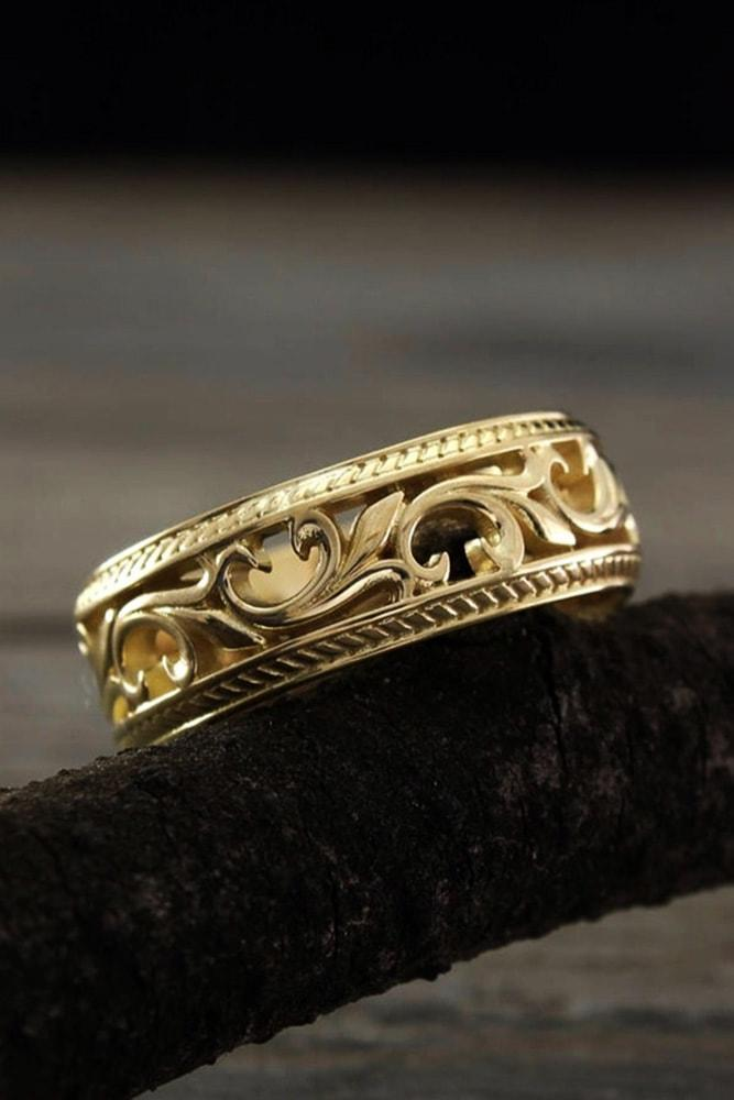 vintage wedding bands floral elements yellow gold special