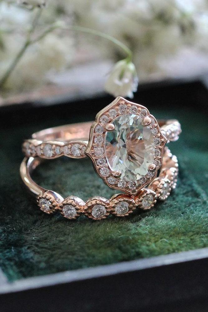 vintage wedding bands halo diamond oval