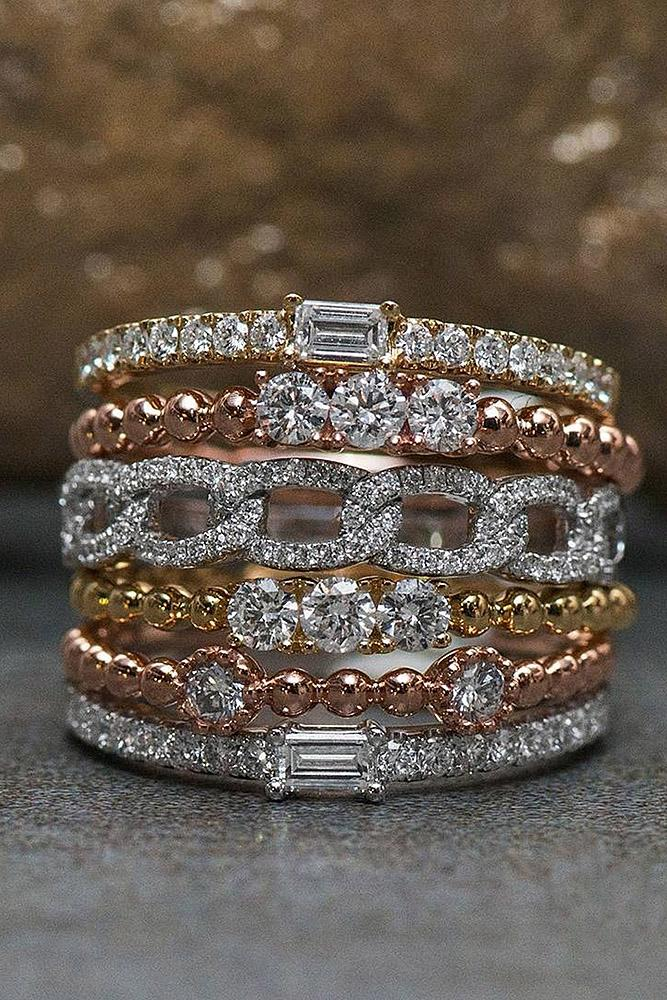vintage wedding bands rose gold yellow white diamonds