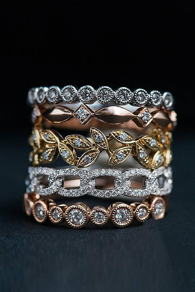 vintage wedding bands twist mixed metals diamonds