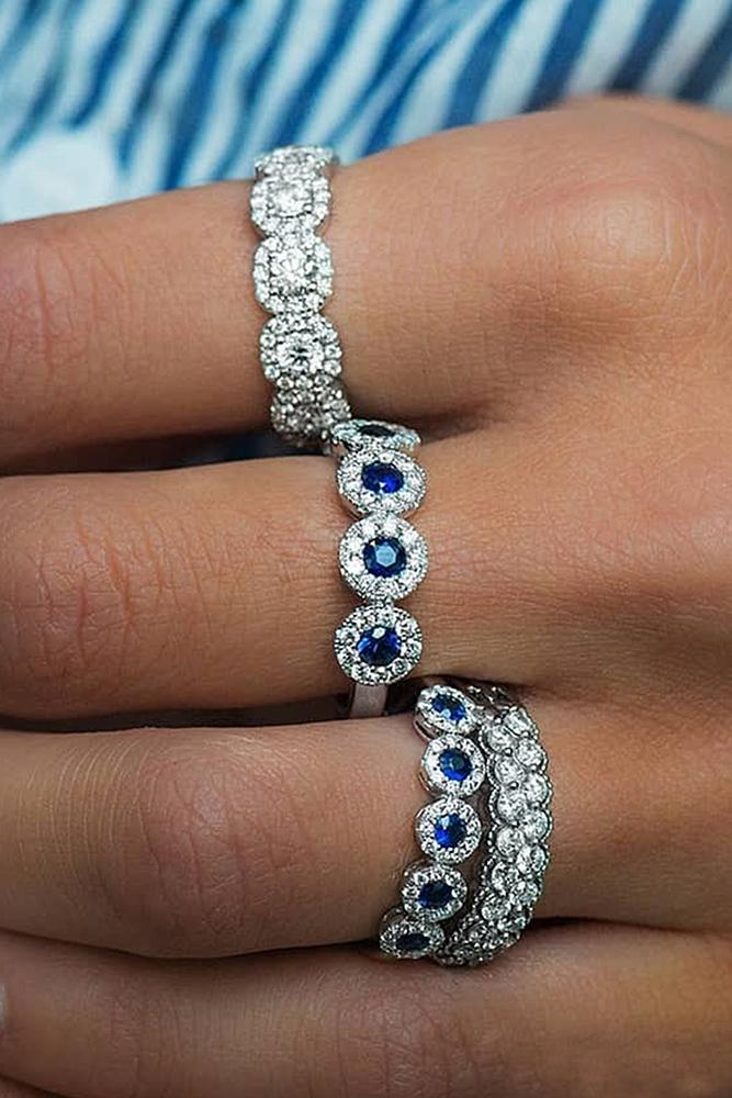 vintage wedding bands white gold sapphire diamond halo