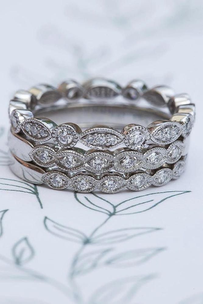 vintage wedding bands white gold twist diamond stack