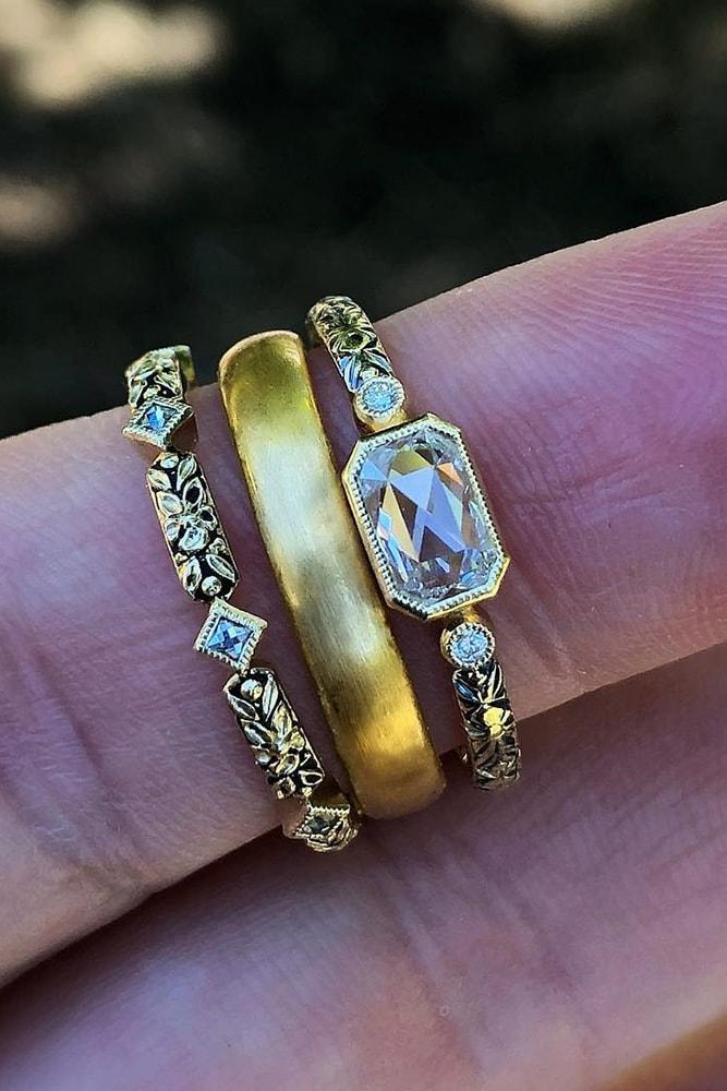 vintage wedding bands yellow gold in sets emerald cut diamond pave band classic