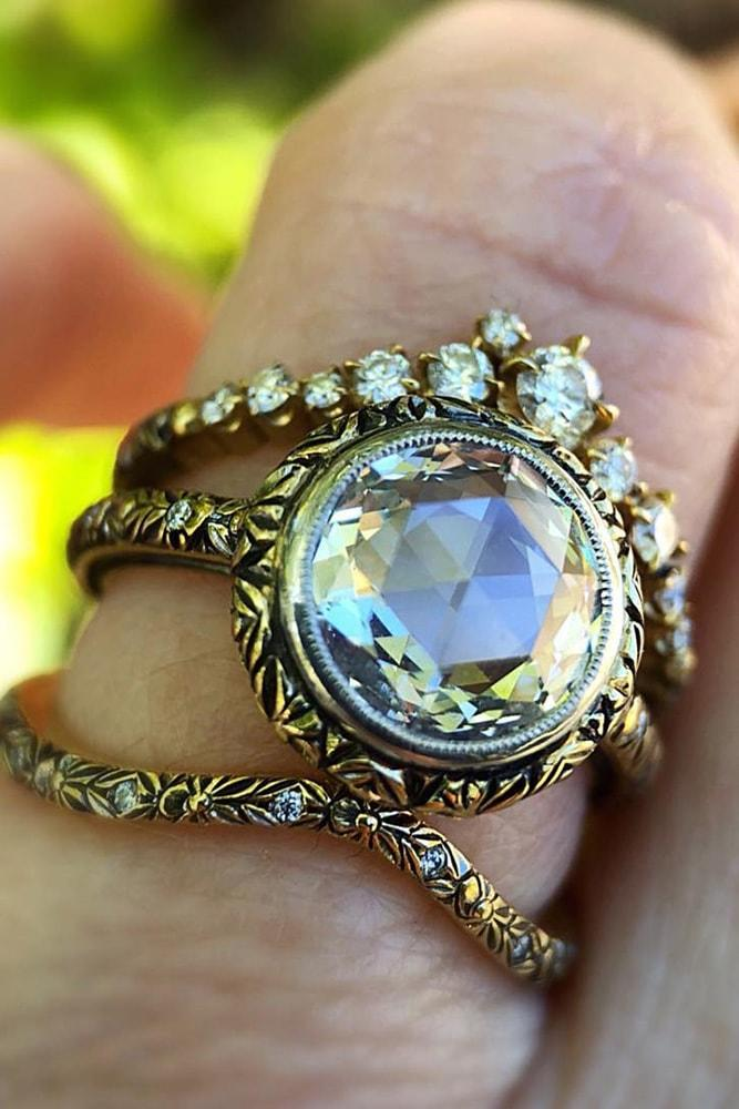 vintage wedding bands yellow gold in sets round cut diamond pave band