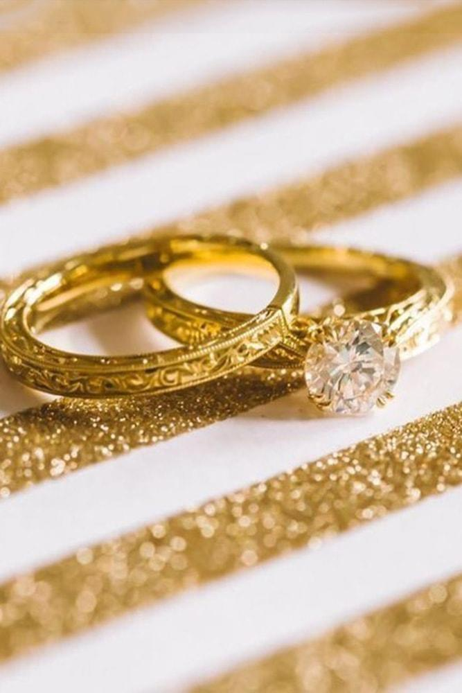 vintage wedding bands yellow gold in sets round cut diamond pave band in vintage style