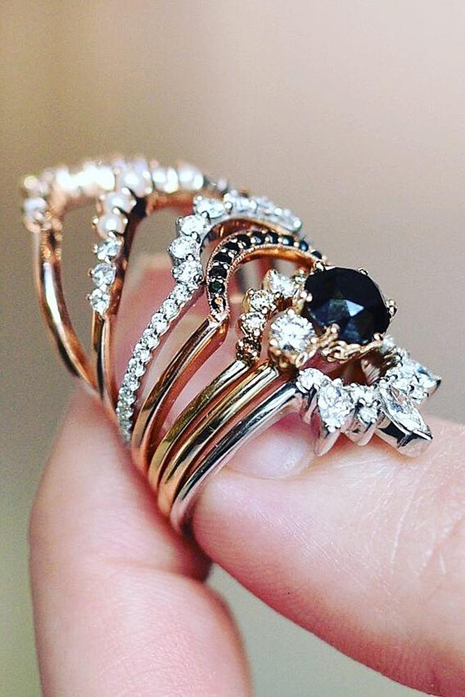 black diamond engagement rings bands rose gold round cut