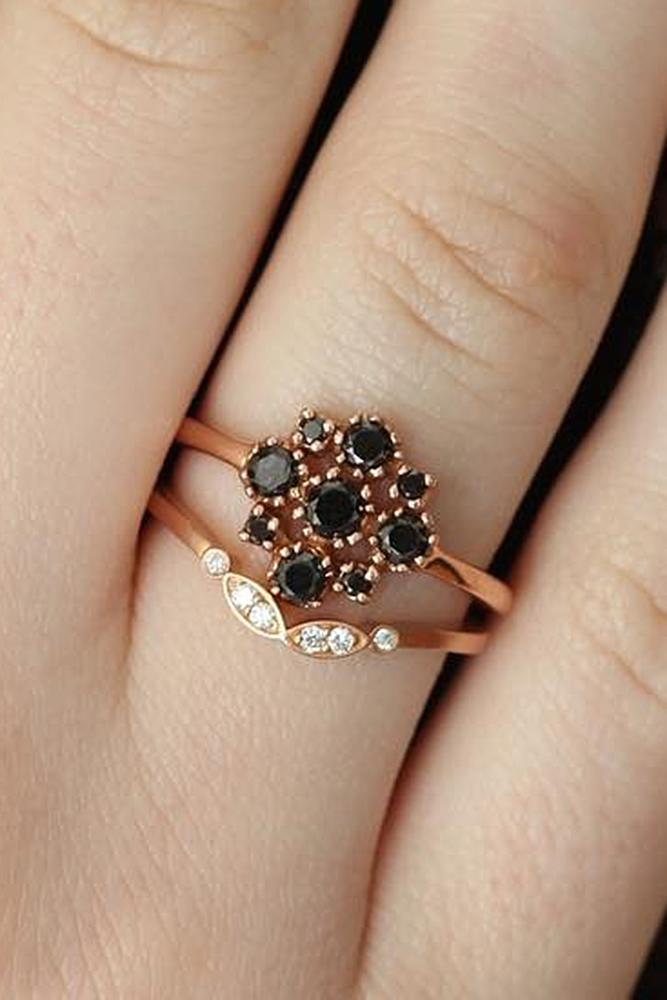 black diamond engagement rings floral rose gold unique wedding set