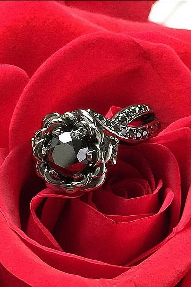 black diamond engagement rings floral vintage white gold