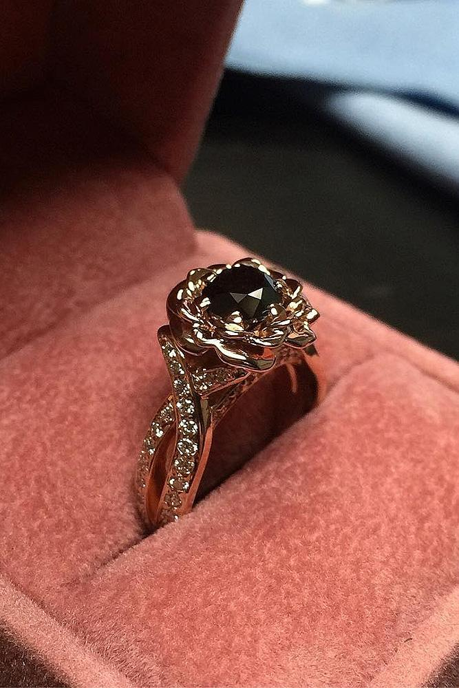 black diamond engagement rings gold floral round