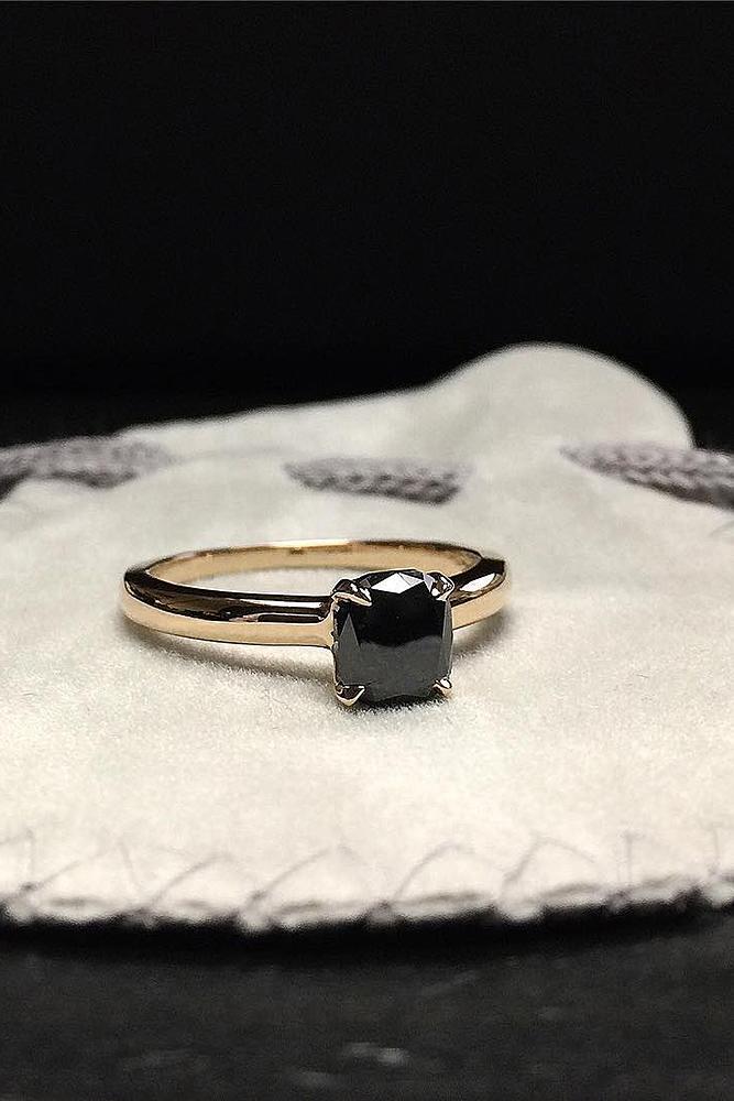 black diamond engagement rings gold solitaire cushion cut