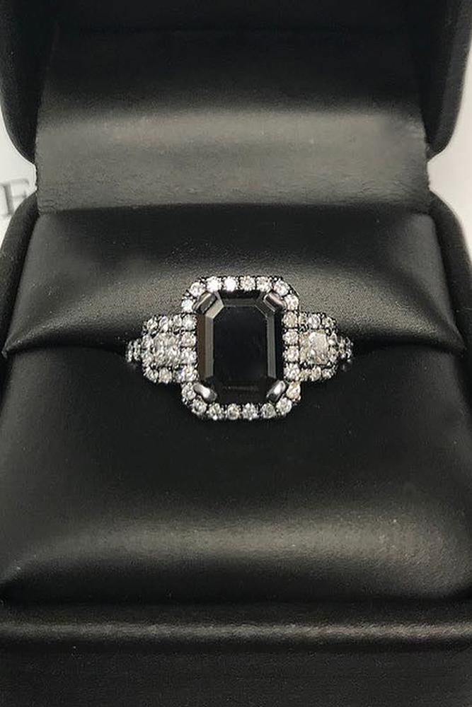 black diamond engagement rings halo pave band emerald cut