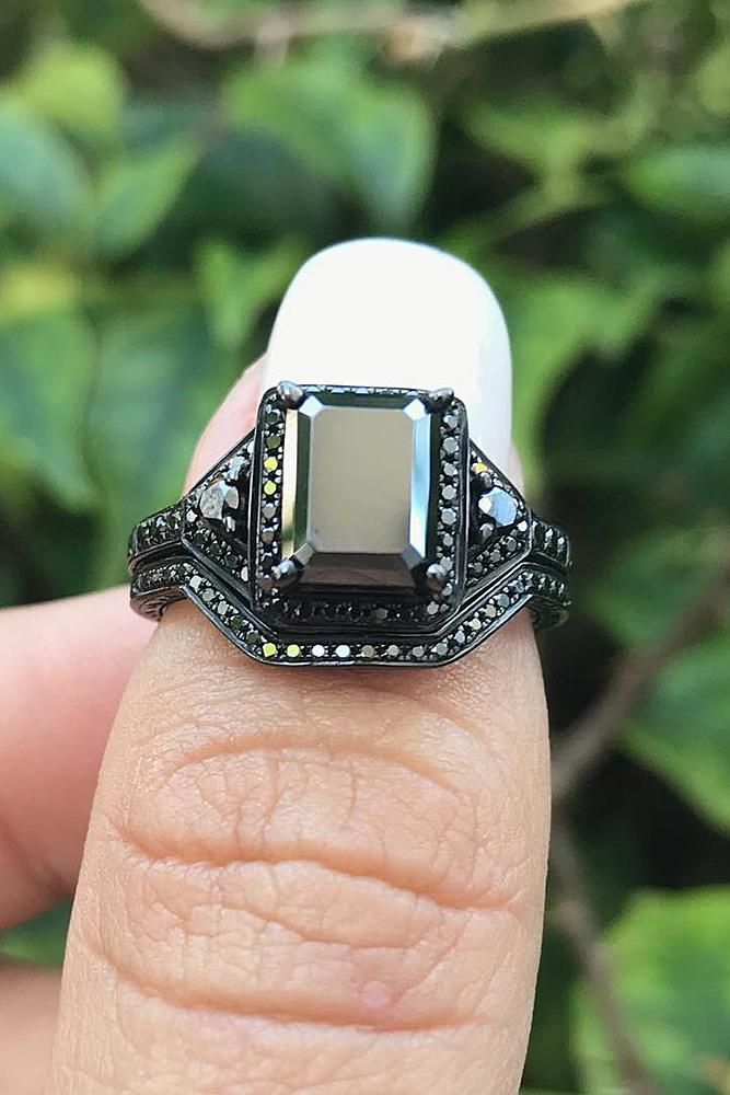 black diamond engagement rings modern unique halo