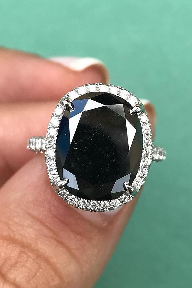 black diamond engagement rings oval cut halo pave band white gold