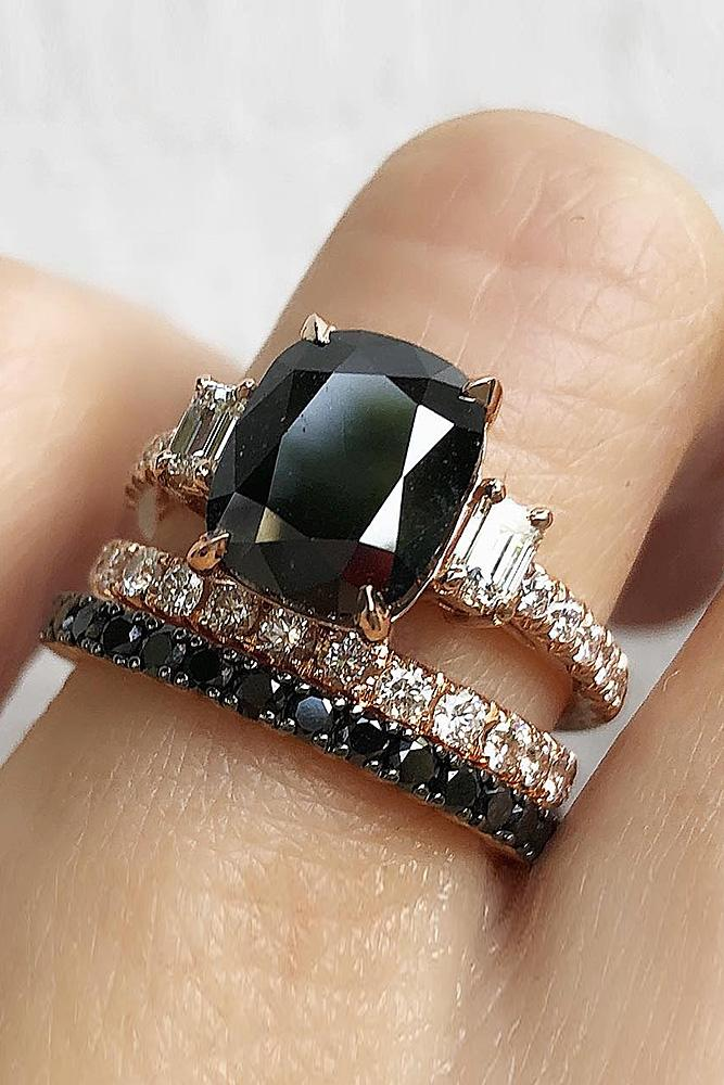 black diamond engagement rings oval cut solitaire wedding set
