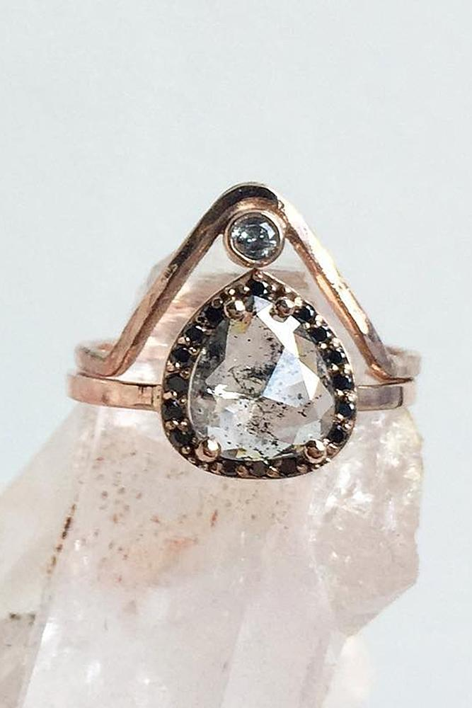 black diamond engagement rings pear cut rose gold unique set