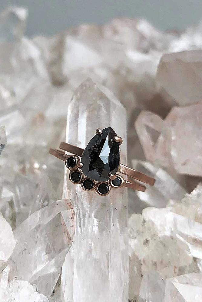 black diamond engagement rings pear cut wedding set rose gold
