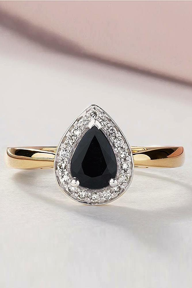 black diamond engagement rings pear halo gold