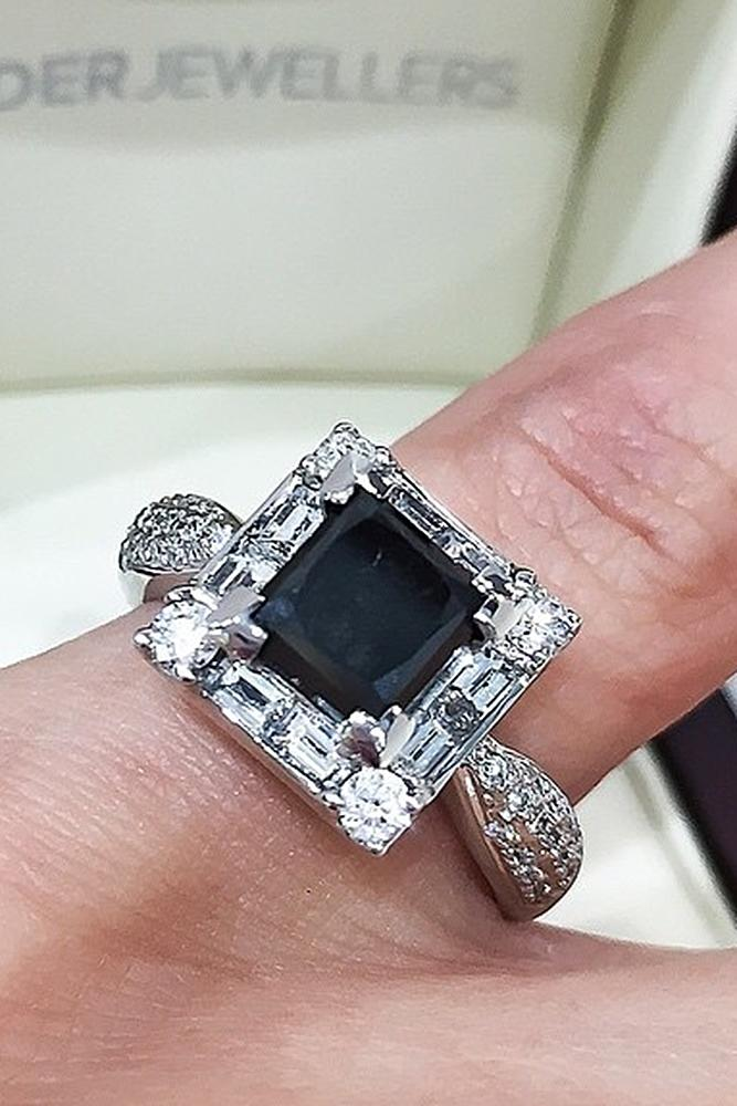 black diamond engagement rings princess cut white gold vintage