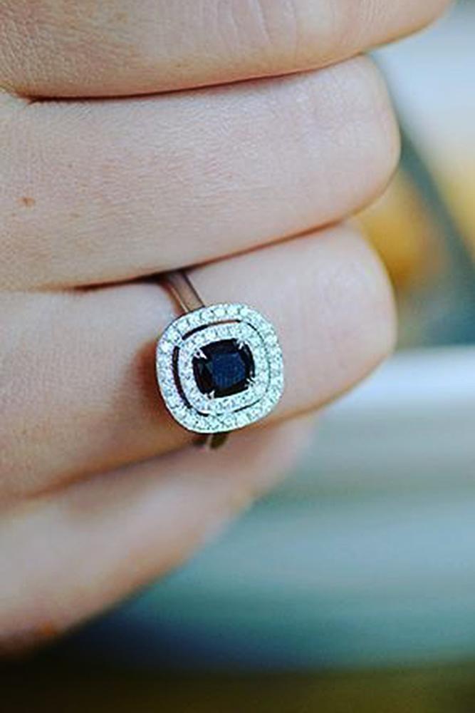 black diamond engagement rings rose gold double halo modern