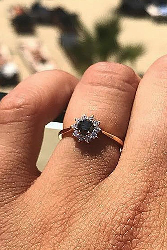 black diamond engagement rings rose gold round cut floral
