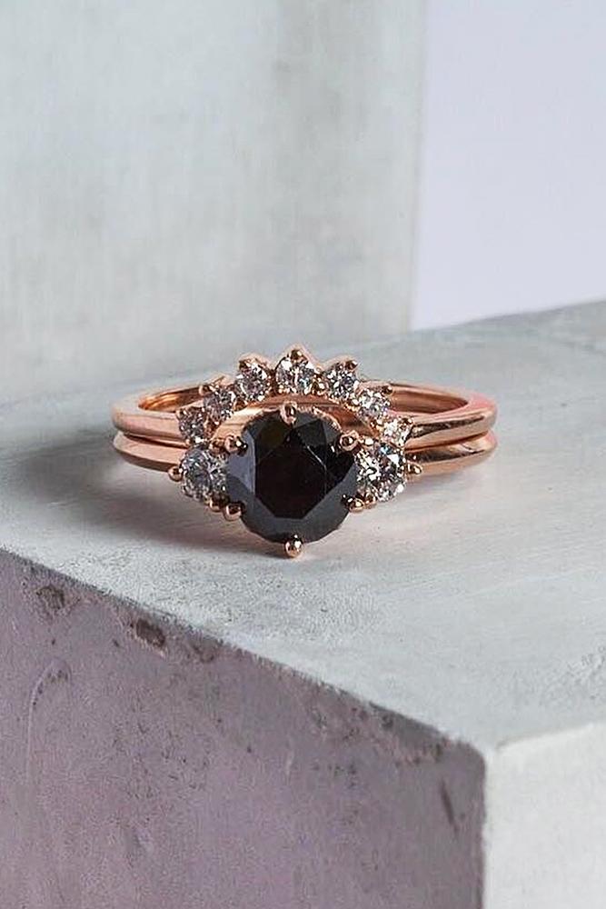 black diamond engagement rings rose gold round gold