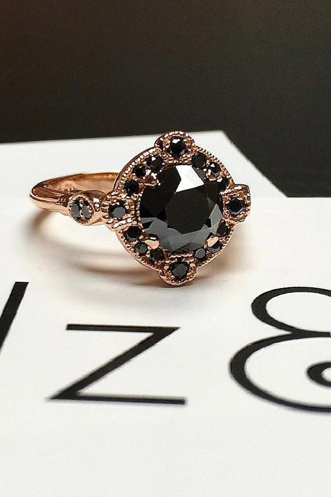 black diamond engagement rings rose gold vintage round