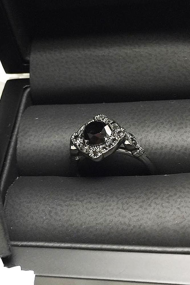 black diamond engagement rings round cut halo white gold