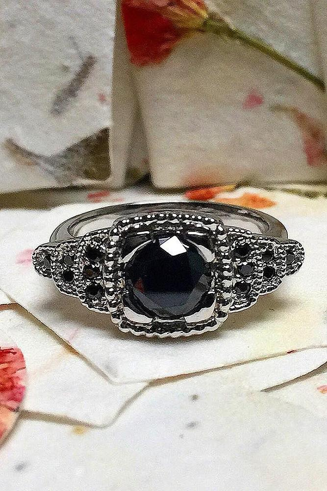 black diamond engagement rings round cut halo white gold